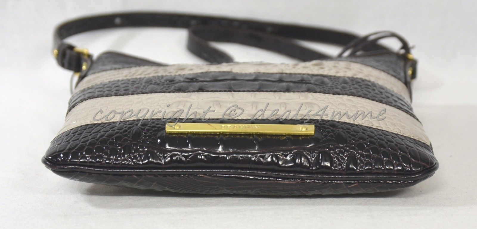 NWT Brahmin Jody Striped Cross-Body/Shoulder Bag in Angora Vineyard image 5