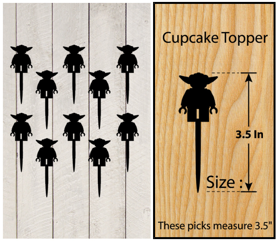 Ca134 Decorations cupcake toppers lego yoda silhouette Package : 10 pcs