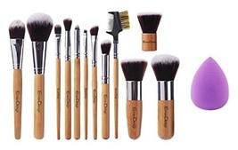 EmaxDesign 12+1 Pieces Makeup Brush Set, 12 Pieces Professional Bamboo H... - $17.64