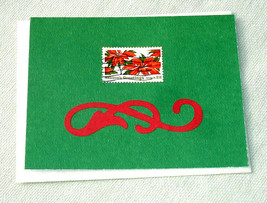 Vintage Postal Stamp with Poinsettias Christmas or Yule Handmade Card - $4.20