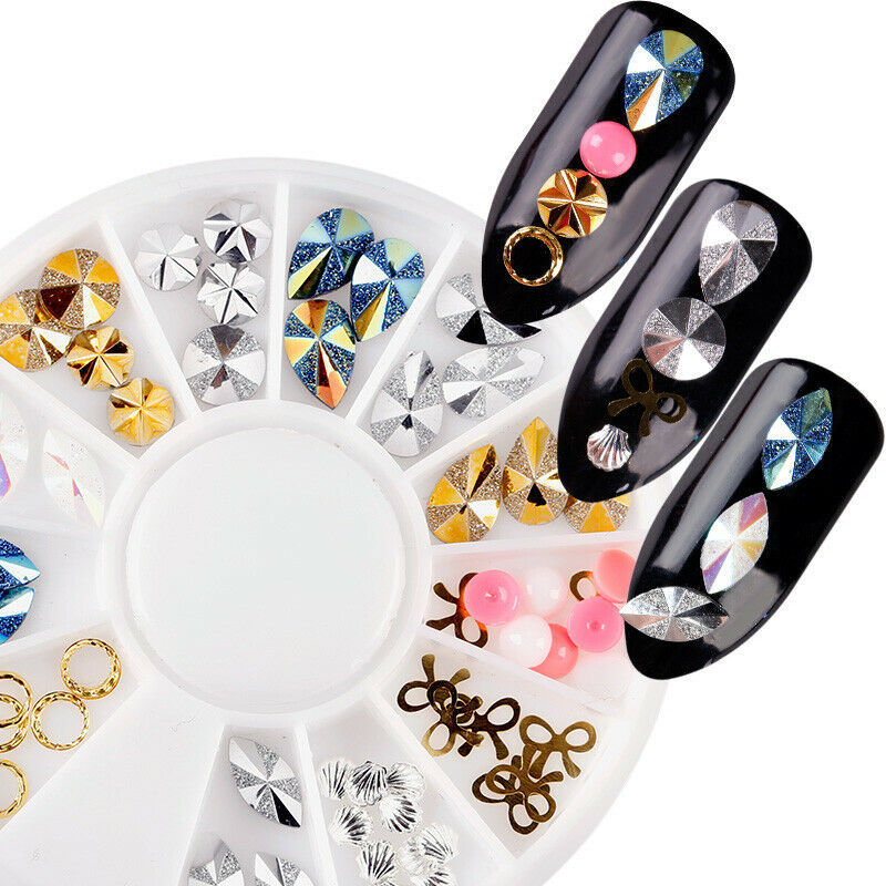 NailPreety® 1 Wheel 3D Nail Decoration Studs Nail Rhinestone DIY MIixed Colorful