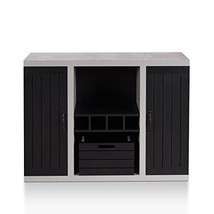 ModHaus Living Industrial Modern Buffet Sideboard with Cement Like Frame... - $472.86