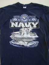 Usn Us Navy American Sea Power Pride In Service Blue Athletic Pt S/S T-SHIRT Lg - $16.82