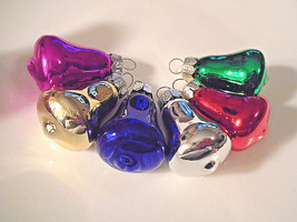 Mini Glass Bells Christmas Ornaments Feather Tree Pink Purple Red Silver... - $5.93