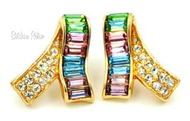 Vintage Swarovski Crystal Earrings Pastel Colors Signed Swan Logo - $55.00