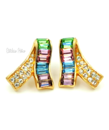 Vintage Swarovski Crystal Earrings Pastel Colors Signed Swan Logo - $55.00