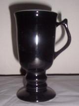 HALL'S Ceramic Onyx Black Color Pedestal Large Collectible Glass Coffee Mug - $16.99