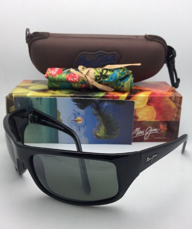 Polarized MAUI JIM Sunglasses PEAHI MJ 202-02 Gloss Black Frame w/ Neutral Grey
