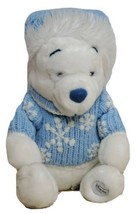 "Winnie The Pooh 12"" Sitting Stuffed Animal White Blue Sweater Scarf Snowflakes - $25.47"
