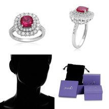 Jewelili Sterling Silver Created Ruby Cushion Cut With Created White Sap... - $12.97
