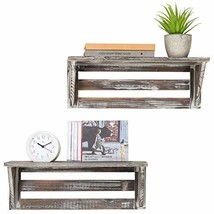 MyGift Rustic 16-Inch Torched Wood Wall-Mounted Storage Display Shelves,... - $35.19