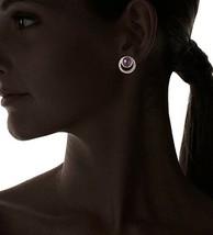 "Blossom Box 3/4"" Gold Plated 10mm Purple Amethyst & Crystal Stud Earrings NWT image 2"