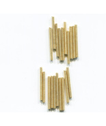 12 metal spring tube loose beads LOT gold bugle findings 35mm x 1mm #S699 - $2.50