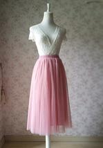Dusty Rose High Waist Midi Tulle Skirt Dusty Rose Bridal Bridesmaid Tulle Skirts image 2