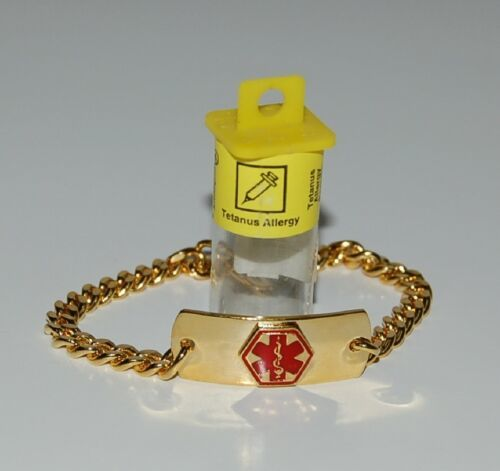 Apothecary Products 91217 Gold Color Tetanus Allergy Medical Alert Bracelet