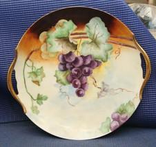 Vintage Vienna Austria Grape & Leaves Decorative Plate Platter Gold Handles - $25.43