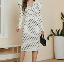 Women Ladies Polka Dot V-Neck Long Sleeve Shoulder Pad Split Back Pencil... - $65.99