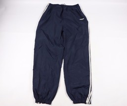 Vintage 90s Adidas Mens XL Spell Out Nylon Joggers Jogger Pants Navy Blu... - $38.56