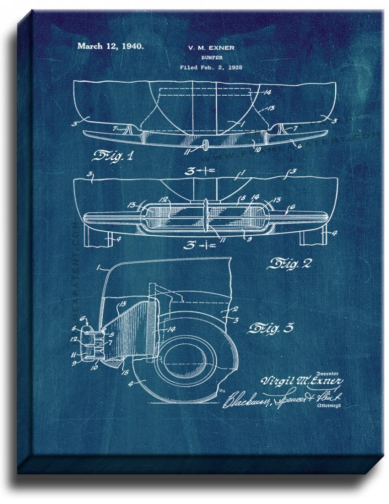 Primary image for Car Bumper Patent Print Midnight Blue on Canvas