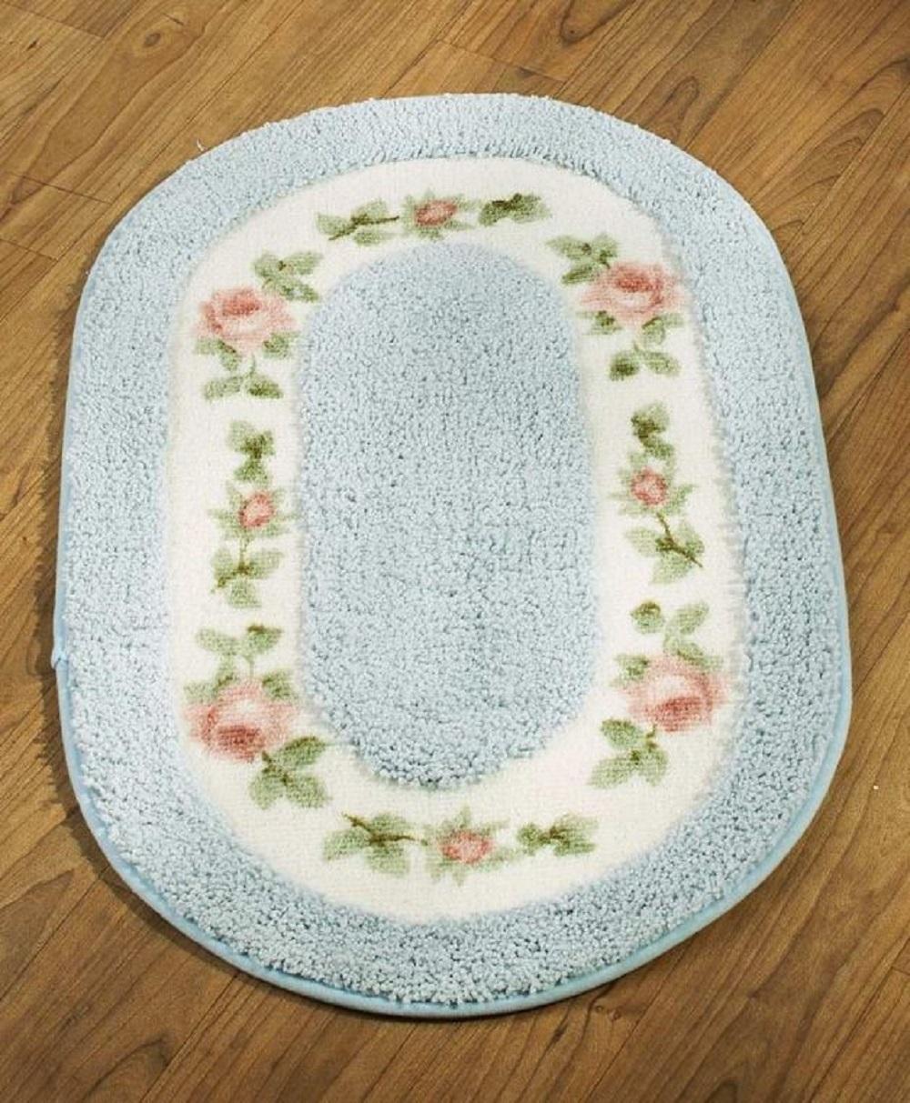 Floral Inset Bath Rug Nonskid Bathroom Runner Bedroom Dressing Room Home Decor