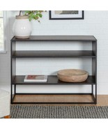 Entryway Console Table 40 inches in Dark Walnut Metal and Wood Storage F... - $165.99