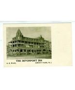Devonport Inn Undivided Back Postcard Asbury Park New Jersey Burned Down... - $98.90