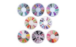 8 or 12 Wheels Combo Set Nail Art Polymer Slices Fimo Decal Accessories image 2
