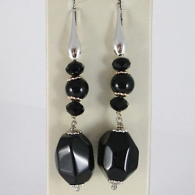 925 STERLING SILVER PENDANT EARRINGS WITH BLACK ONYX NUGGETS 2.4 INCHES LONG