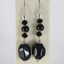 925 STERLING SILVER PENDANT EARRINGS WITH BLACK ONYX NUGGETS 2.4 INCHES LONG image 1