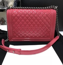 NEW AUTH CHANEL PINK QUILTED PATENT LEATHER LARGE BOY FLAP BAG  image 2