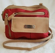 MULTISAC Organizer Red Tan Beige Nylon Lightweight Travel Shoulder Bag P... - $24.74