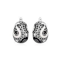 Paisley Mosaic Earrings with Enamel and Cubic Zirconia in Sterling Silver - $60.55