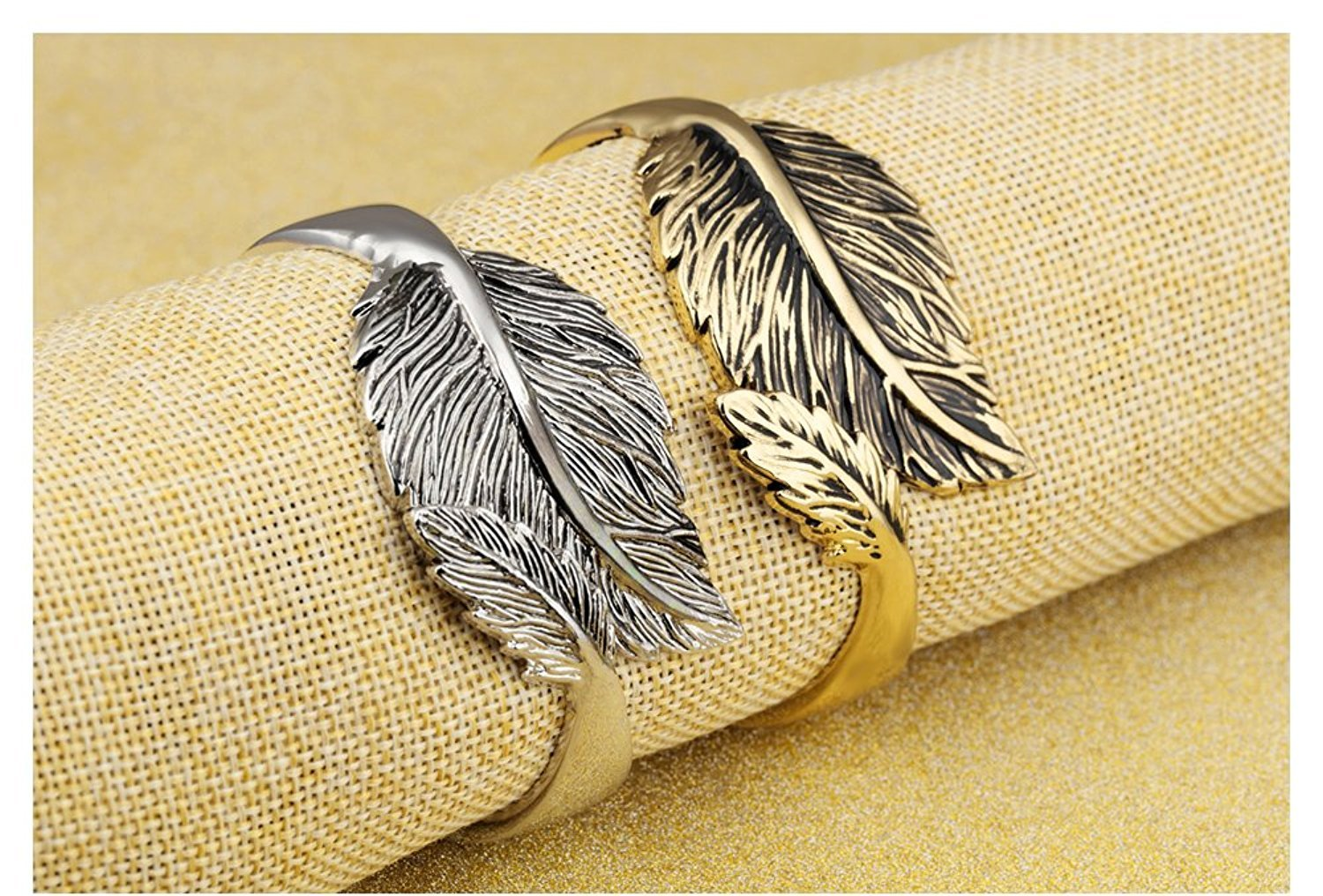 Stainless Steel Leaf Bracelet Open C Style Bangle IP Plating Golden/Silvery