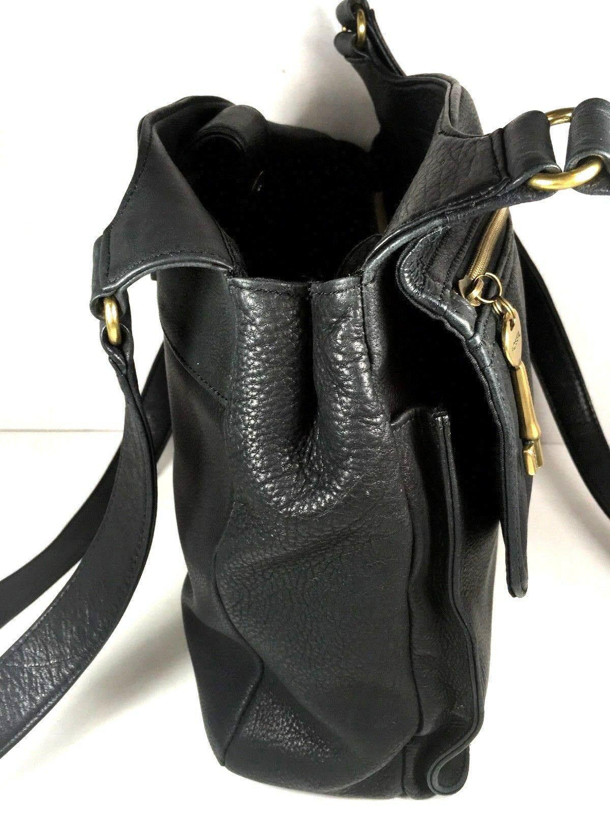 Fossil Vintage Black Leather Multi Pocket Shoulder Bag Brass Tone Hardware