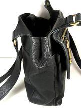 Fossil Vintage Black Leather Multi Pocket Shoulder Bag Brass Tone Hardware image 6