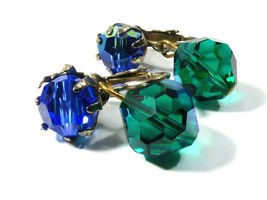 VTG Green & Blue Aurora Borealis Crystal charm drop clip earrings silver... - $20.79
