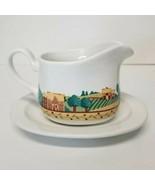 Corelle Coordinates Gravy Boat Syrup & Under Plate Stoneware Landscape D... - $13.63
