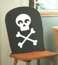 Set 4 Chair Covers Skull Pirate Halloween Party Decor Black White Hallow... - $12.99