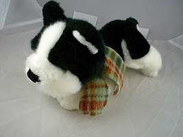 """Russ Berrie dog plush 7-8"""" long Black and white with scarf  Bean bag Vin... - $8.90"""