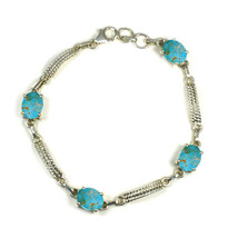 Genuine Turquoise Silver For Women Bracelet Jewelry Prong Style Length 8 IN - $39.60