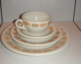 SHENANGO CHINA Golden Orange and Olive Green Place Setting - $22.80