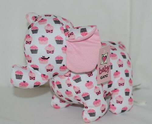 Baby Ganz Brand BG3192 Pink And Brown Ooh La La Plush Cupcake Elephant