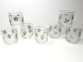 "7 Libbey Silver Leaf Frosted 3 1/4"" MCM Old Fashioned Rocks Glasses VTG Barware - $38.28"