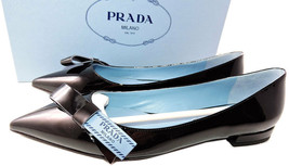 Sz 37 Prada Noeud Mocassins Plats Cuir Noir Ballerines Chaussures Bout P... - $389.01