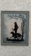 Vintage Art Deco Reverse Silhouette painting on glass woman & dog Grey H... - $39.99