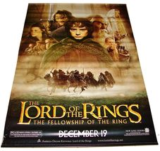 2001 LOTR FELLOWSHIP OF THE RING Vinyl Movie Theater Lobby Banner 48x70 ... - $199.99