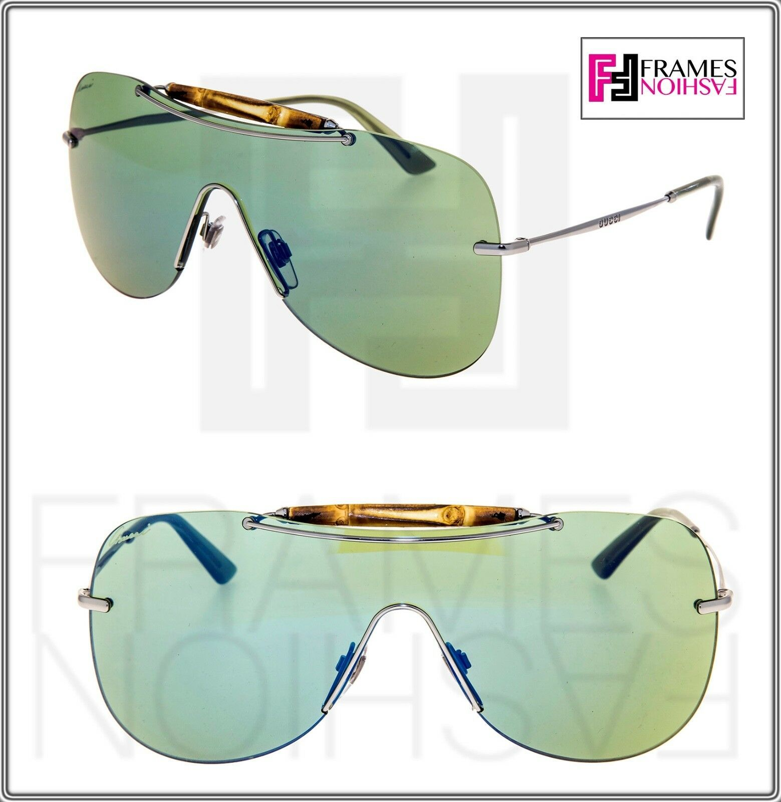 93236bf752 Gucci Shield GG4262S Ruthenium Green Blue and 50 similar items
