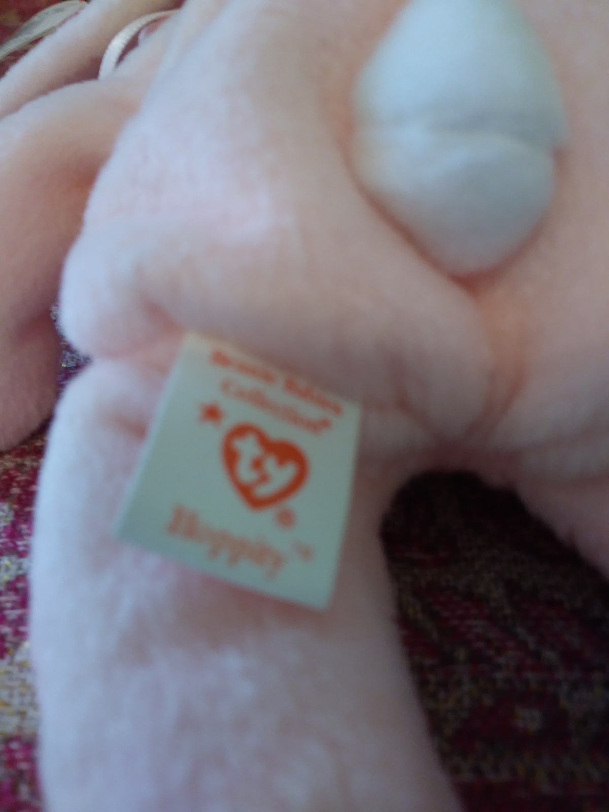 56fe77c98ac ... Ty Beanie Baby Hoppity  Vintage 1996 pink rabbit w  tag Rarities ...