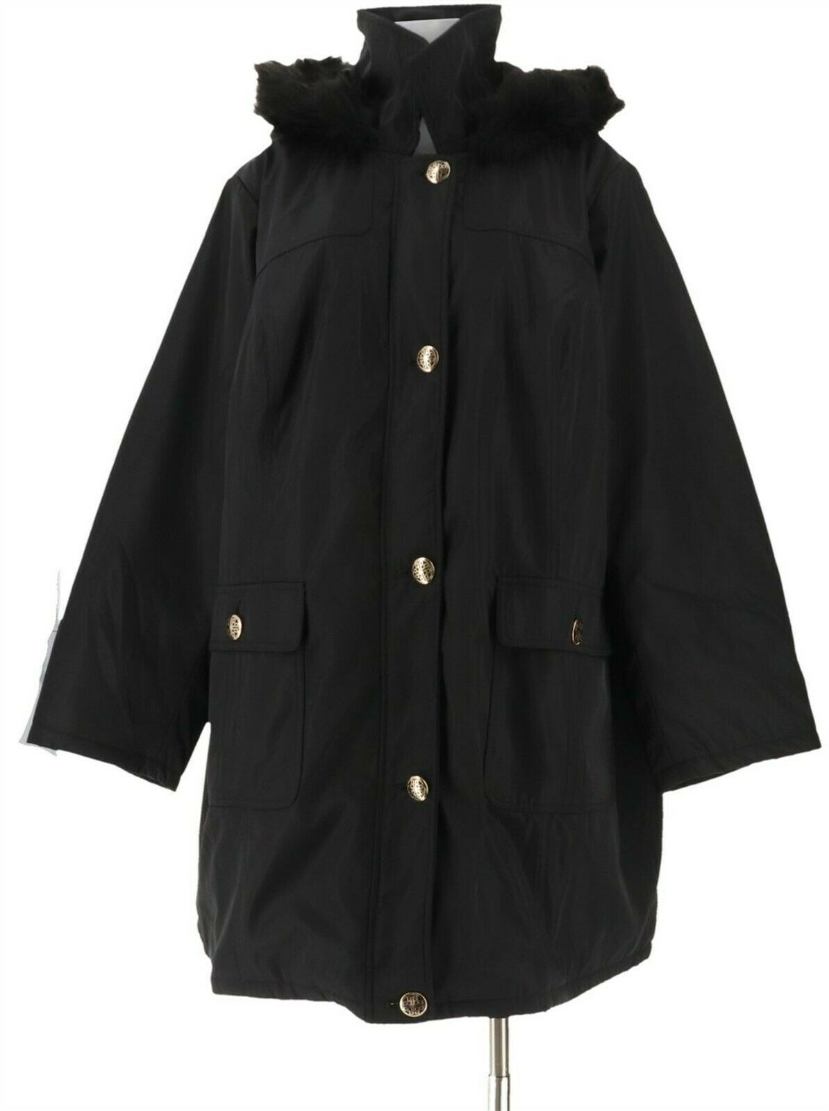 Primary image for Dennis Basso Water Resistant Coat Quilted Lining Black XL NEW A298302