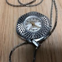 Vintage LaRochelle Lady Silver Hand-Winding Necklace Pendant Pocket Watc... - $13.99